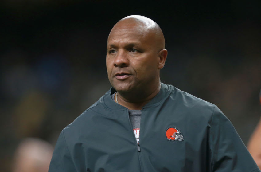NEW ORLEANS, LA - SEPTEMBER 16: Head coach Hue Jackson of the Cleveland Browns on the sidelines before the start of the gaime against the New Orleans Saints at Mercedes-Benz Superdome on September 16, 2018 in New Orleans, Louisiana. (Photo by Sean Gardner/Getty Images)