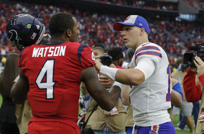 HOUSTON, TX - OCTOBER 14: Josh Allen #17 of the Buffalo Bills talks with Deshaun Watson #4 of the Houston Texans after the game at NRG Stadium on October 14, 2018 in Houston, Texas. (Photo by Tim Warner/Getty Images)