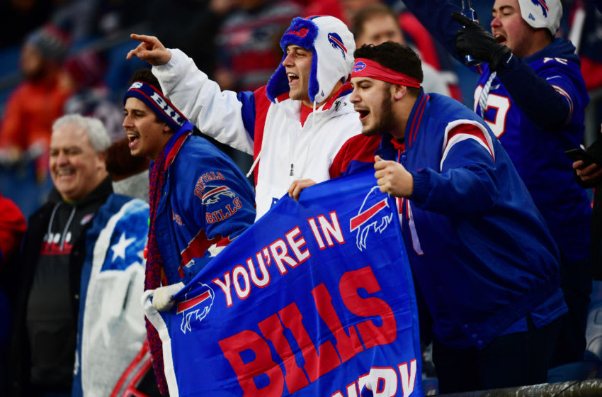 FOXBOROUGH, MASSACHUSETTS - DECEMBER 21: Bills fans display a flag before the game between the New England Patriots and the Buffalo Bills at Gillette Stadium on December 21, 2019 in Foxborough, Massachusetts. (Photo by Billie Weiss/Getty Images)