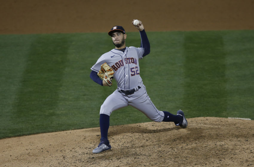 Houston Astros reliever Cionel Perez (Photo by Lachlan Cunningham/Getty Images)