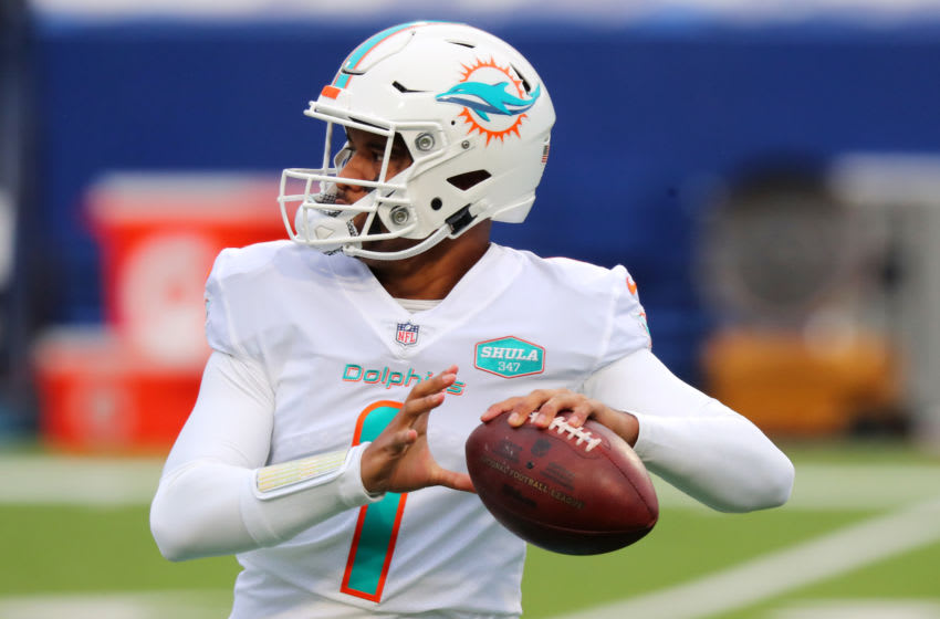 ORCHARD PARK, NEW YORK - JANUARY 03: Tua Tagovailoa #1 of the Miami Dolphins (Photo by Timothy T Ludwig/Getty Images)