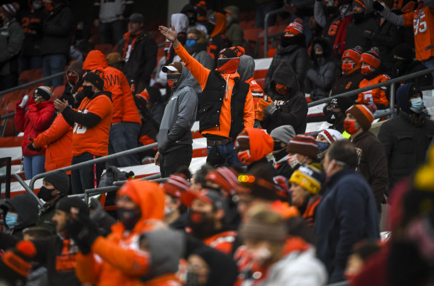 CLEVELAND, OHIO - JANUARY 03: Cleveland Browns fans react during the fourth quarter against the Pittsburgh Steelers at FirstEnergy Stadium on January 03, 2021 in Cleveland, Ohio. (Photo by Nic Antaya/Getty Images)