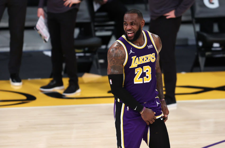 LOS ANGELES, CALIFORNIA - JANUARY 08: LeBron James #23 of the Los Angeles Lakers reacts after defeating the Chicago Bulls 117-115 in a game at Staples Center on January 08, 2021 in Los Angeles, California. NOTE TO USER: User expressly acknowledges and agrees that, by downloading and or using this photograph, User is consenting to the terms and conditions of the Getty Images License Agreement. (Photo by Sean M. Haffey/Getty Images)
