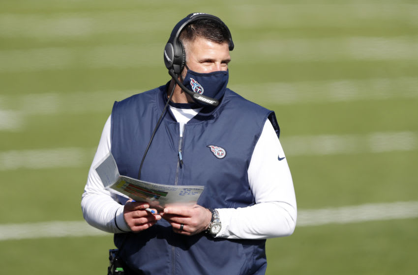 NASHVILLE, TENNESSEE - JANUARY 10: Head coach Mike Vrabel of the Tennessee Titans looks on during the first quarter of their AFC Wild Card Playoff game against the Baltimore Ravens at Nissan Stadium on January 10, 2021 in Nashville, Tennessee. (Photo by Wesley Hitt/Getty Images)