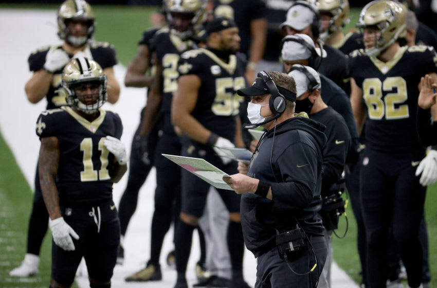NEW ORLEANS, LOUISIANA - JANUARY 10: Head coach Sean Payton of the New Orleans Saints looks on from the sideline during the first quarter against the Chicago Bears in the NFC Wild Card Playoff game at Mercedes Benz Superdome on January 10, 2021 in New Orleans, Louisiana. (Photo by Chris Graythen/Getty Images)