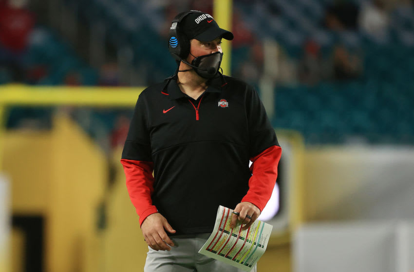 MIAMI GARDENS, FLORIDA - JANUARY 11: Head coach Ryan Day of the Ohio State Buckeyes is seen during the second quarter of the College Football Playoff National Championship game against the Alabama Crimson Tide at Hard Rock Stadium on January 11, 2021 in Miami Gardens, Florida. (Photo by Mike Ehrmann/Getty Images)