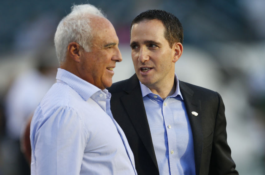 PHILADELPHIA, PA - AUGUST 28: Philadelphia Eagles owner Jeffery Lurie talks to general manager Howie Roseman prior to the preseason game against the New York Jets on August 28, 2014 at Lincoln Financial Field in Philadelphia, Pennsylvania. (Photo by Rich Schultz/Getty Images)