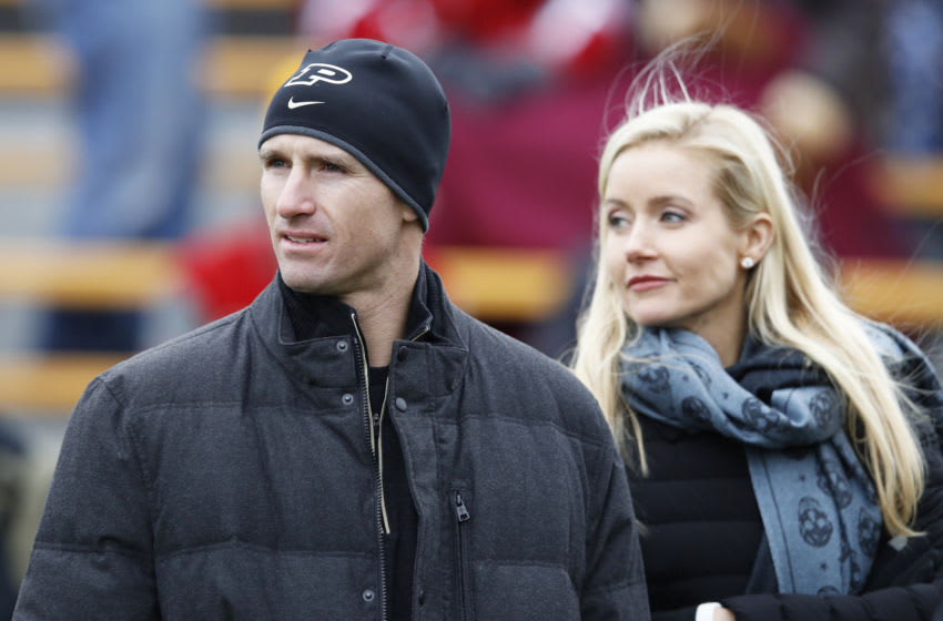 WEST LAFAYETTE, IN - NOVEMBER 19: New Orleans Saints quarterback and former Purdue Boilermakers great Drew Brees and his wife Brittany Brees attend the game against the Wisconsin Badgers at Ross-Ade Stadium on November 19, 2016 in West Lafayette, Indiana. Wisconsin defeated Purdue 49-20. (Photo by Joe Robbins/Getty Images)