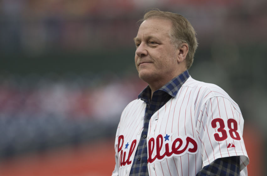 PHILADELPHIA, PA - JUNE 10: Former MLB pitcher Curt Schilling looks on prior to the game between the Milwaukee Brewers and Philadelphia Phillies at Citizens Bank Park on June 10, 2018 in Philadelphia, Pennsylvania. (Photo by Mitchell Leff/Getty Images)