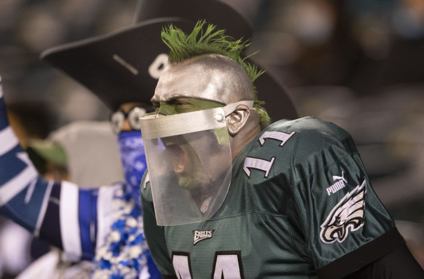 PHILADELPHIA, PA - NOVEMBER 01: A Dallas Cowboys and Philadelphia Eagles fan react during the game at Lincoln Financial Field on November 1, 2020 in Philadelphia, Pennsylvania. (Photo by Mitchell Leff/Getty Images)