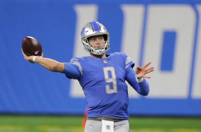 DETROIT, MICHIGAN - JANUARY 03: Matthew Stafford #9 of the Detroit Lions drops back to pass during the third quarter of the game against the Minnesota Vikings at Ford Field on January 03, 2021 in Detroit, Michigan. Minnesota defeated Detroit 37-35. (Photo by Leon Halip/Getty Images)