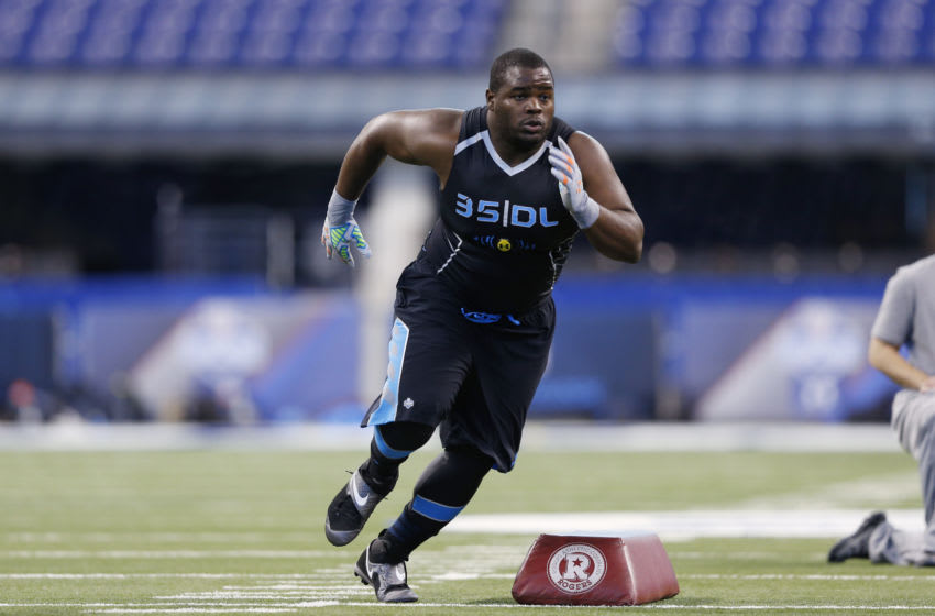 INDIANAPOLIS, IN - FEBRUARY 24: Former Notre Dame defensive lineman Louis Nix takes part in position drills during the 2014 NFL Combine at Lucas Oil Stadium on February 24, 2014 in Indianapolis, Indiana. (Photo by Joe Robbins/Getty Images)