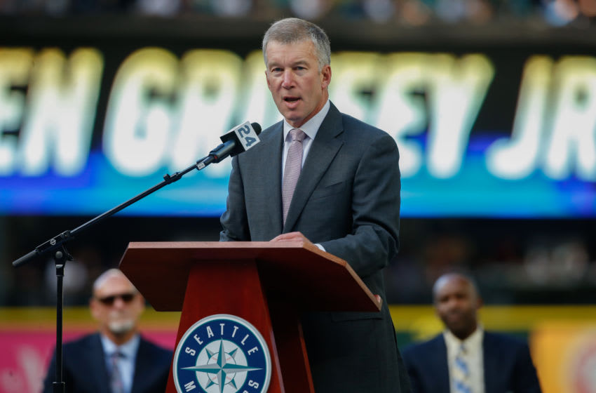 SEATTLE, WA - AUGUST 06: Seattle Mariners President & Chief Operating Officer Kevin Mather speaks to the crowd during a jersey retirement ceremony honoring Ken Griffey Jr. prior to the game between the Seattle Mariners and the Los Angeles Angels of Anaheim at Safeco Field on August 6, 2016 in Seattle, Washington. (Photo by Otto Greule Jr/Getty Images)