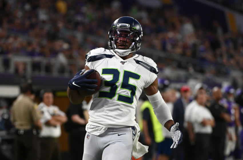 MINNEAPOLIS, MN - AUGUST 18: DeShawn Shead #35 of the Seattle Seahawks scores on an 88 yard interception return in the second quarter of the preseason game against the Minnesota Vikings at U.S. Bank Stadium on August 18, 2019 in Minneapolis, Minnesota. (Photo by Stephen Maturen/Getty Images)