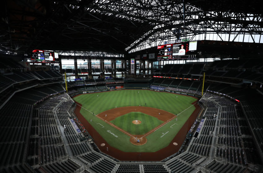 ARLINGTON, TEXAS - SEPTEMBER 10: A general view of play between the Los Angeles Angels and the Texas Rangers at Globe Life Field on September 10, 2020 in Arlington, Texas. (Photo by Ronald Martinez/Getty Images)