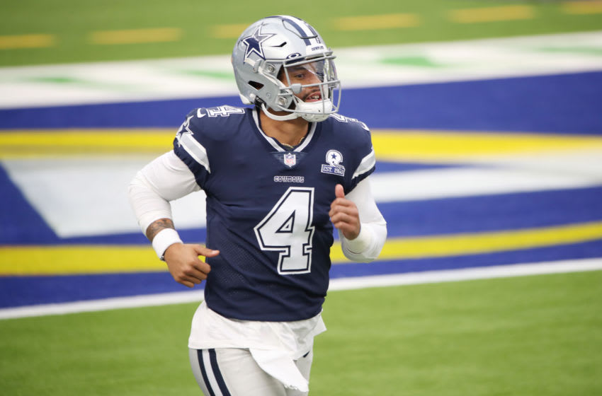 INGLEWOOD, CALIFORNIA - SEPTEMBER 13: Dak Prescott #4 of the Dallas Cowboys warms up before the game against the Los Angeles Rams at SoFi Stadium on September 13, 2020 in Inglewood, California. (Photo by Katelyn Mulcahy/Getty Images)