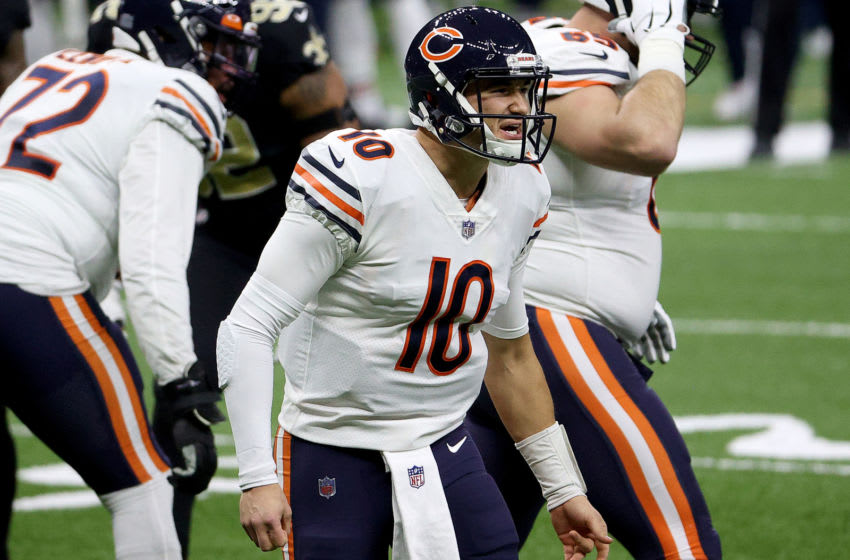 NEW ORLEANS, LOUISIANA - JANUARY 10: Mitchell Trubisky #10 of the Chicago Bears reacts during the first quarter against the New Orleans Saints in the NFC Wild Card Playoff game at Mercedes Benz Superdome on January 10, 2021 in New Orleans, Louisiana. (Photo by Chris Graythen/Getty Images)