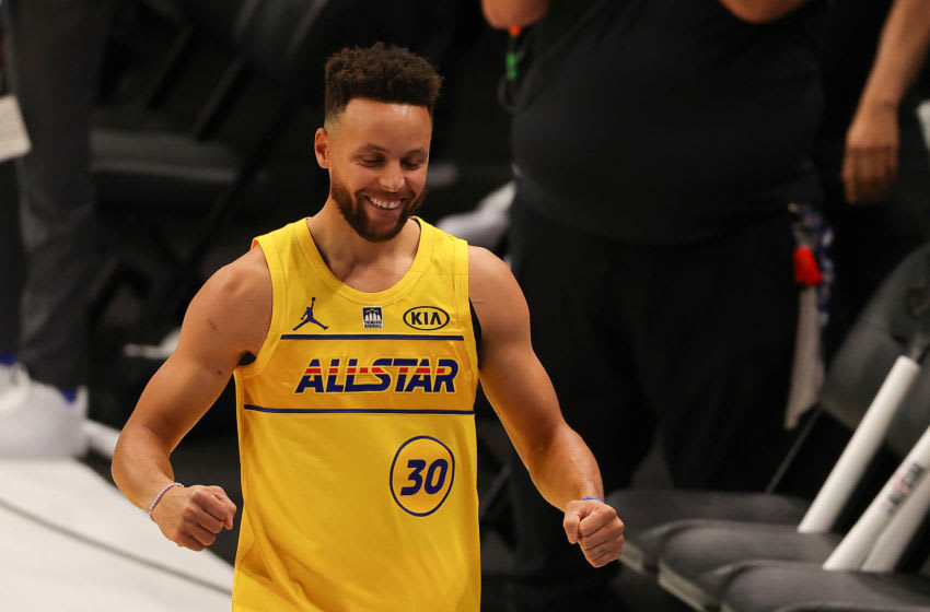 ATLANTA, GEORGIA - MARCH 07: Stephen Curry #30 of the Golden State Warriors celebrates after winning the 2021 NBA All-Star - MTN DEW 3-Point Contest during All-Star Sunday Night at State Farm Arena on March 07, 2021 in Atlanta, Georgia. (Photo by Kevin C. Cox/Getty Images)