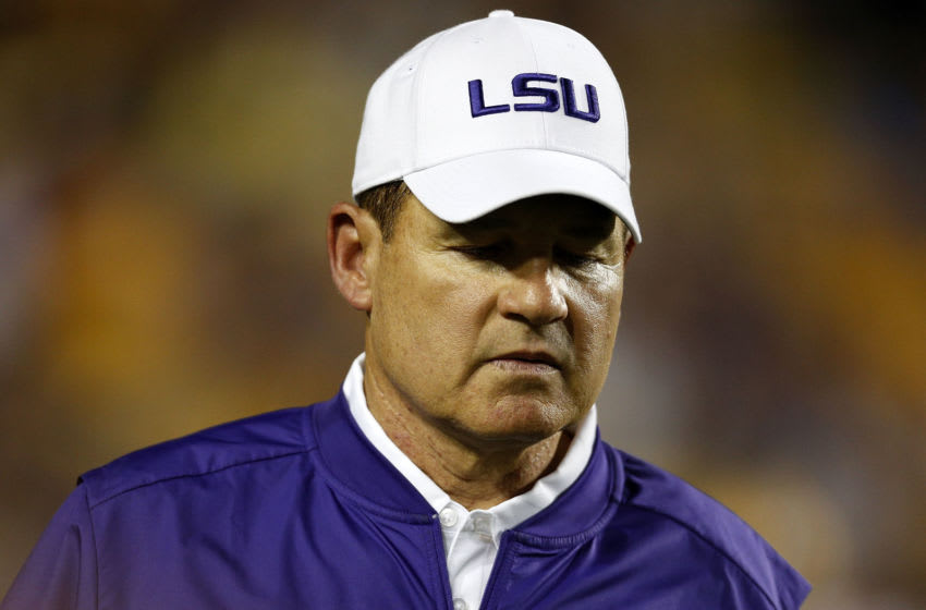 Head coach Les Miles of the LSU Tigers reacts during a game at Tiger Stadium on September 10, 2016 in Baton Rouge, Louisiana. (Photo by Jonathan Bachman/Getty Images)