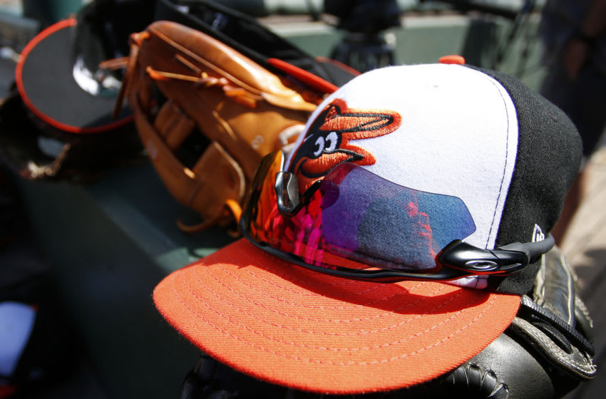 SARASOTA, FL- MARCH 08: A Baltimore Orioles hat is seen against the Toronto Blue Jays on March 8, 2017 at Ed Smith Stadium in Sarasota, Florida. (Photo by Justin K. Aller/Getty Images) *** Local Caption ***