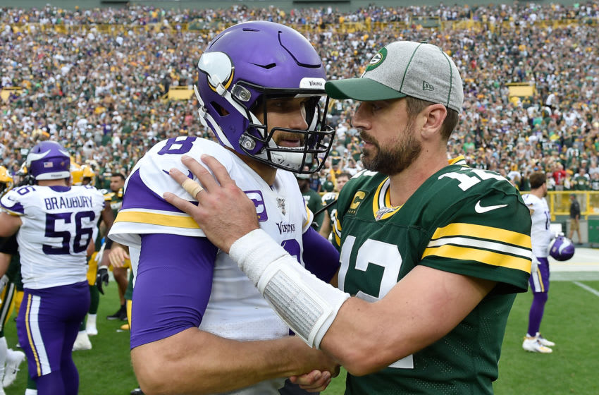 GREEN BAY, WISCONSIN - SEPTEMBER 15: Kirk Cousins #8 of the Minnesota Vikings and Aaron Rodgers #12 of the Green Bay Packers after the game at Lambeau Field on September 15, 2019 in Green Bay, Wisconsin. (Photo by Quinn Harris/Getty Images)
