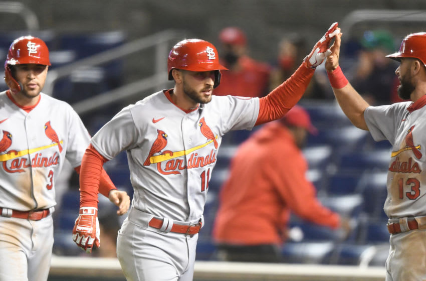 WASHINGTON, DC - APRIL 19: Paul DeJong #11 of the St. Louis Cardinals celebrates hitting a grand slam in the fifth inning during a game against the Washington Nationals at Nationals Park on April 19, 2021 in Washington, DC. (Photo by Mitchell Layton/Getty Images)