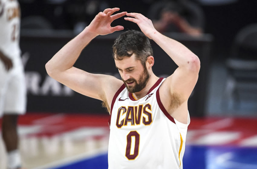 DETROIT, MICHIGAN - APRIL 19: Kevin Love #0 of the Cleveland Cavaliers reacts during the fourth quarter of the NBA game against the Detroit Pistons at Little Caesars Arena on April 19, 2021 in Detroit, Michigan. NOTE TO USER: User expressly acknowledges and agrees that, by downloading and or using this photograph, User is consenting to the terms and conditions of the Getty Images License Agreement. (Photo by Nic Antaya/Getty Images)