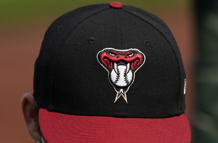 SAN FRANCISCO, CALIFORNIA - AUGUST 23: A detailed view of the Arizona Diamondbacks logo on their hats worn by a player against the San Francisco Giants at Oracle Park on August 23, 2020 in San Francisco, California. (Photo by Thearon W. Henderson/Getty Images)