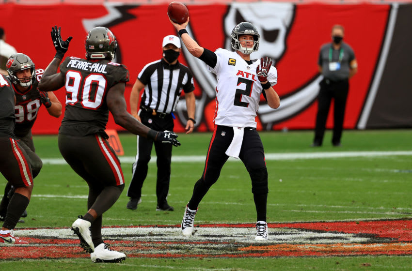 TAMPA, FLORIDA - JANUARY 03: Matt Ryan #2 of the Atlanta Falcons passes during a game against the Tampa Bay Buccaneers at Raymond James Stadium on January 03, 2021 in Tampa, Florida. (Photo by Mike Ehrmann/Getty Images)