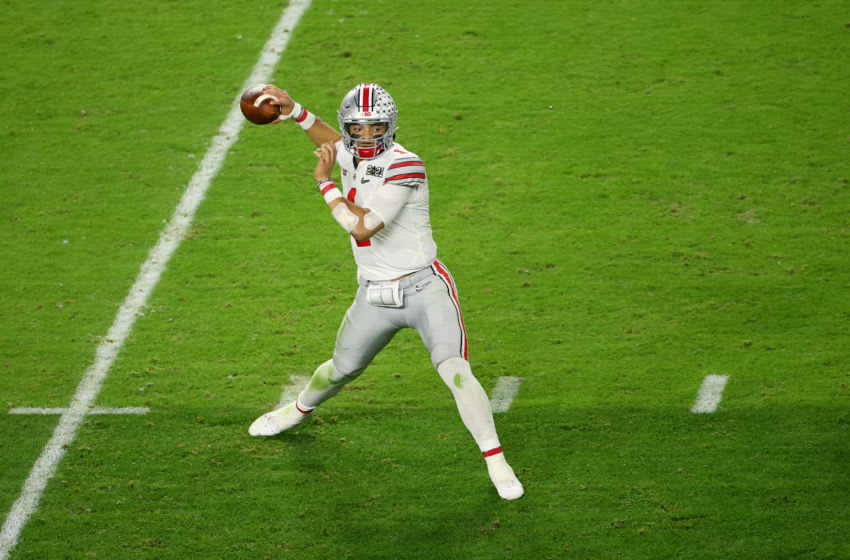 MIAMI GARDENS, FL - JANUARY 11: Justin Fields #1 of the Ohio State Buckeyes drops back to pass against the Alabama Crimson Tide during the College Football Playoff National Championship held at Hard Rock Stadium on January 11, 2021 in Miami Gardens, Florida. (Photo by Jamie Schwaberow/Getty Images)