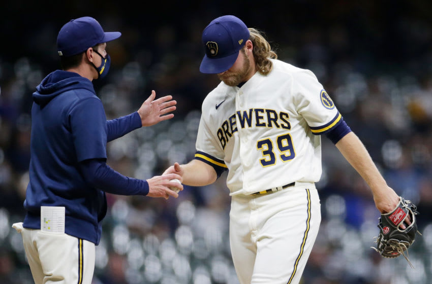 MILWAUKEE, WISCONSIN - APRIL 26: Corbin Burnes #39 of the Milwaukee Brewers taken out of the game in the sixth inning against the Miami Marlins at American Family Field on April 26, 2021 in Milwaukee, Wisconsin. (Photo by John Fisher/Getty Images)
