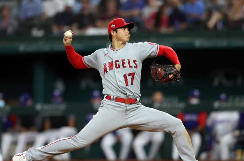 ARLINGTON, TEXAS - APRIL 26: Shohei Ohtani #17 of the Los Angeles Angels at Globe Life Field on April 26, 2021 in Arlington, Texas. (Photo by Ronald Martinez/Getty Images)