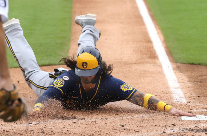 Milwaukee Brewers catcher Jacob Nottingham. (Photo by Gregory Shamus/Getty Images)