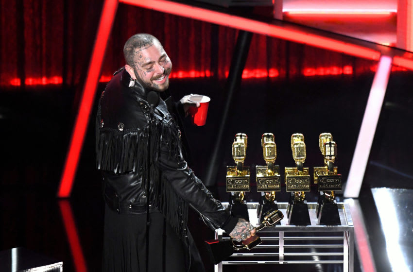 HOLLYWOOD, CALIFORNIA - OCTOBER 14: In this image released on October 14, Post Malone accepts the Top Artist Award onstage at the 2020 Billboard Music Awards, broadcast on October 14, 2020 at the Dolby Theatre in Los Angeles, CA. (Photo by Kevin Mazur/Getty Images)