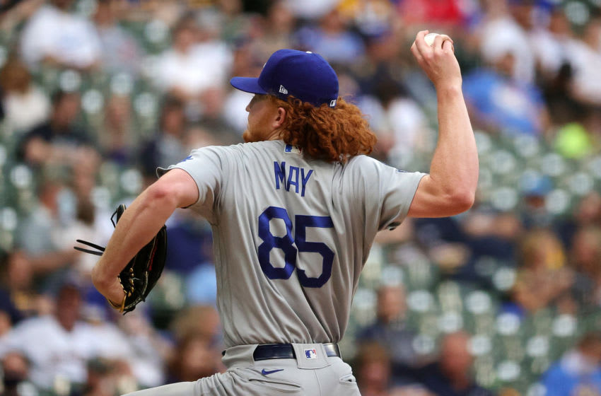 MILWAUKEE, WISCONSIN - MAY 01: Dustin May #85 of the Los Angeles Dodgers throws a pitch during the second inning against the Milwaukee Brewers at American Family Field on May 01, 2021 in Milwaukee, Wisconsin. (Photo by Stacy Revere/Getty Images)