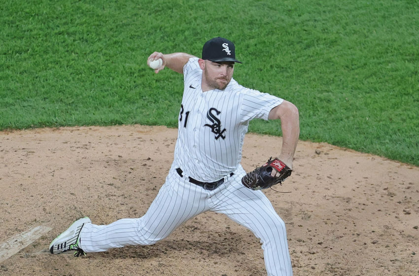 CHICAGO, ILLINOIS - MAY 12: Liam Hendriks #31 of the Chicago White Sox itches the 9th inning against the Minnesota Twins at Guaranteed Rate Field on May 12, 2021 in Chicago, Illinois. The White Sox defeated the Twins 13-8. (Photo by Jonathan Daniel/Getty Images)