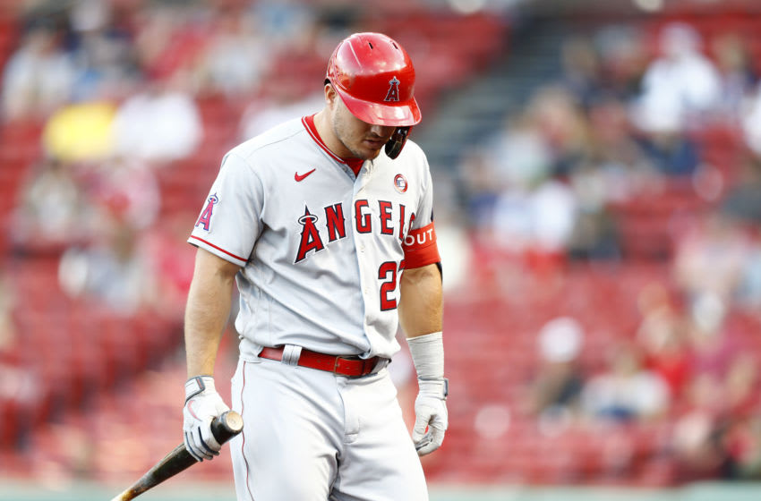 BOSTON, MASSACHUSETTS - MAY 15: Mike Trout #27 of the Los Angeles Angels returns to the dugout at the top of the eighth inning of the game against the Boston Red Sox at Fenway Park on May 15, 2021 in Boston, Massachusetts. (Photo by Omar Rawlings/Getty Images)