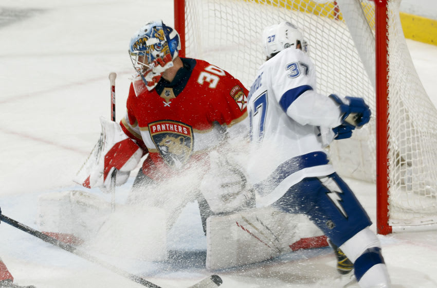 SUNRISE, FL - MAY 24: Goaltender Spencer Knight #30 of the Florida Panthers turns away the shot by Yanni Gourde #37 of the Tampa Bay Lightning in Game Five of the First Round of the 2021 Stanley Cup Playoffs at the BB&T Center on May 24, 2021 in Sunrise, Florida. (Photo by Joel Auerbach/Getty Images)