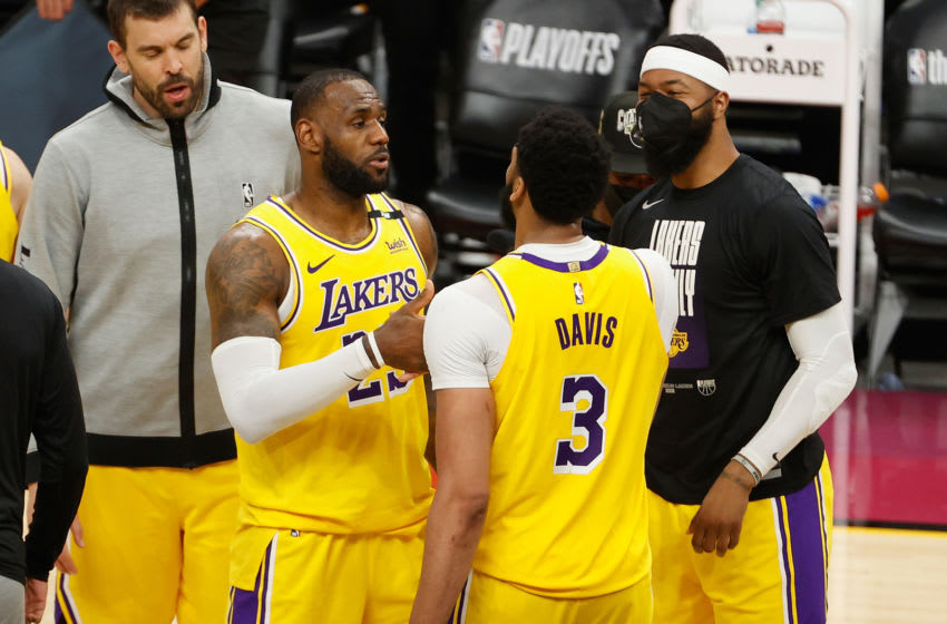 Los Angeles Lakers stars LeBron James and Anthony Davis (Photo by Christian Petersen/Getty Images)