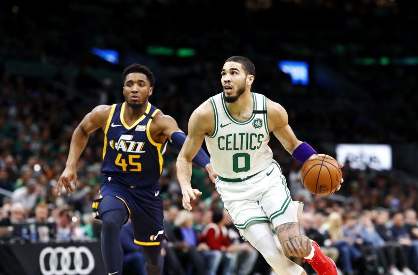 BOSTON, MASSACHUSETTS - MARCH 06: Jayson Tatum #0 of the Boston Celtics brings the ball up court during the first quarter of the game against the Utah Jazz at TD Garden on March 06, 2020 in Boston, Massachusetts. NOTE TO USER: User expressly acknowledges and agrees that, by downloading and or using this photograph, User is consenting to the terms and conditions of the Getty Images License Agreement. (Photo by Omar Rawlings/Getty Images)