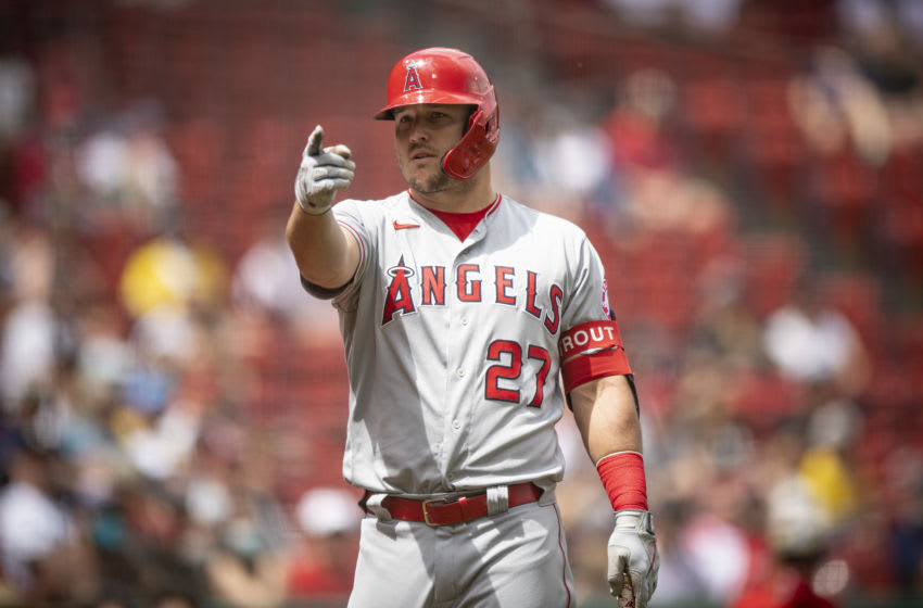 BOSTON, MA - MAY 16: Mike Trout #27 of the Los Angeles Angels of Anaheim looks on during the first inning of a game against the Boston Red Sox on May 16, 2021 at Fenway Park in Boston, Massachusetts. (Photo by Billie Weiss/Boston Red Sox/Getty Images)