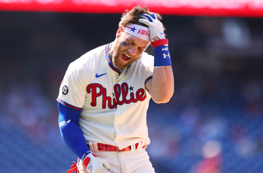 PHILADELPHIA, PA - JUNE 06: Bryce Harper #3 of the Philadelphia Phillies reacts after grounding out with the bases loaded to end fourth of a game against the Washington Nationals at Citizens Bank Park on June 6, 2021 in Philadelphia, Pennsylvania. (Photo by Rich Schultz/Getty Images)