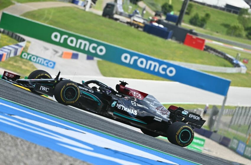 Mercedes' British driver Lewis Hamilton competes during the Formula One Styrian Grand Prix at the Red Bull Ring race track in Spielberg, Austria, on June 27, 2021. (Photo by Joe Klamar / AFP) (Photo by JOE KLAMAR/AFP via Getty Images)