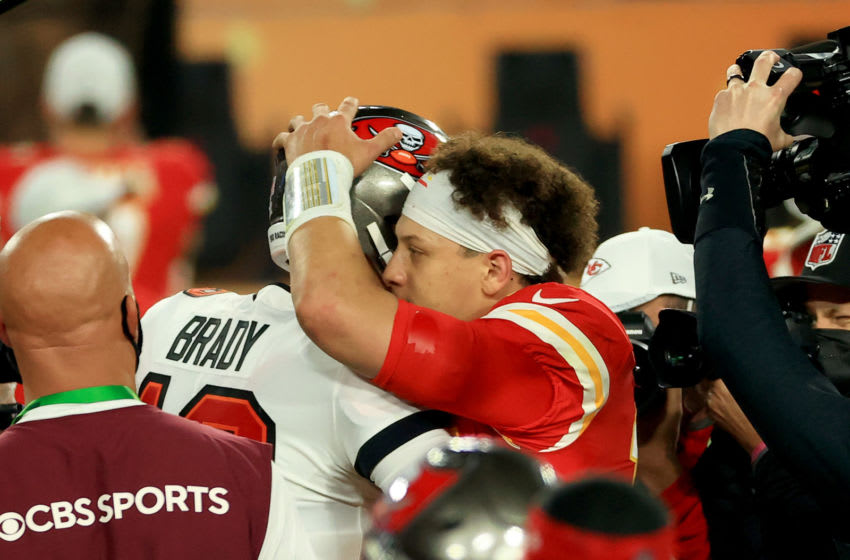 Tom Brady, Tampa Bay Buccaneers, Patrick Mahomes, Kansas City Chiefs. (Photo by Mike Ehrmann/Getty Images)