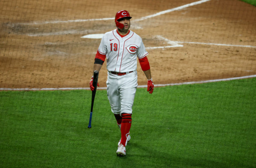 CINCINNATI, OHIO - MAY 04: Joey Votto #19 of the Cincinnati Reds walks back to the dugout after striking out in the sixth inning against the Chicago White Sox at Great American Ball Park on May 04, 2021 in Cincinnati, Ohio. (Photo by Dylan Buell/Getty Images)