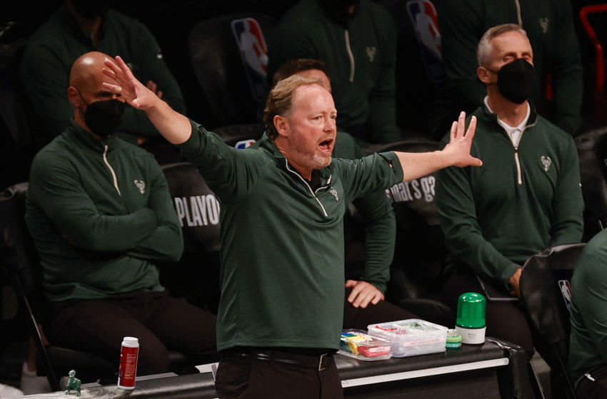 NEW YORK, NEW YORK - JUNE 05: Head Coach Mike Budenholzer of the Milwaukee Bucks calls to players during the third quarter against the Brooklyn Nets during Game One of the Eastern Conference second round series at Barclays Center on June 05, 2021 in New York City. NOTE TO USER: User expressly acknowledges and agrees that, by downloading and or using this photograph, User is consenting to the terms and conditions of the Getty Images License Agreement. (Photo by Tim Nwachukwu/Getty Images)