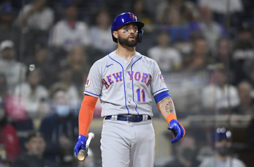 SAN DIEGO, CA - JUNE 5: Kevin Pillar #11 of the New York Mets plays during a baseball game against San Diego Padres at Petco Park on June 5, 2021 in San Diego, California. (Photo by Denis Poroy/Getty Images)