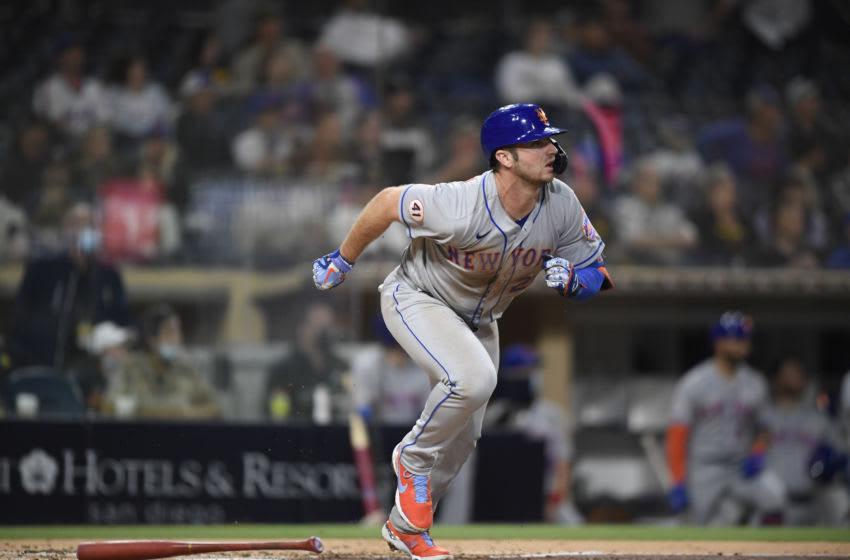 SAN DIEGO, CA - JUNE 5: Pete Alonso #20 of the New York Mets plays during a baseball game against San Diego Padres at Petco Park on June 5, 2021 in San Diego, California. (Photo by Denis Poroy/Getty Images)