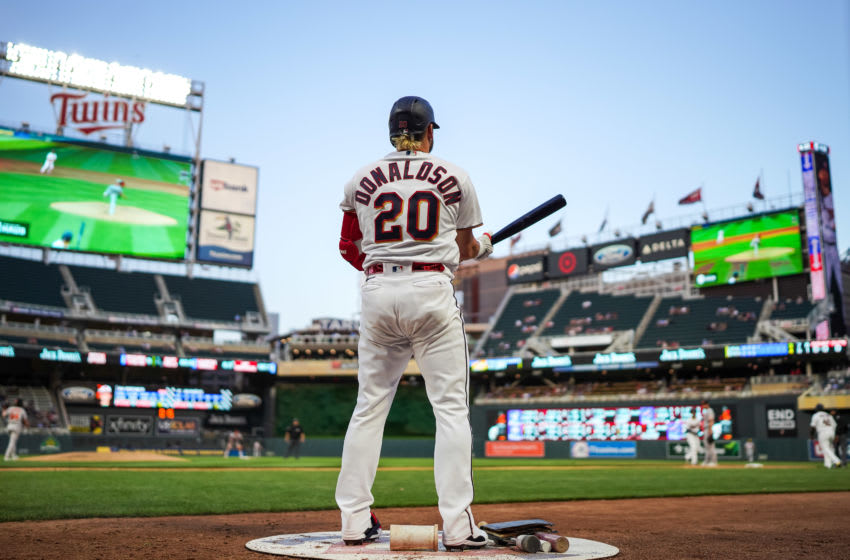 MINNEAPOLIS, MN - MAY 25: Josh Donaldson #20 of the Minnesota Twins looks on against the Baltimore Orioles on May 25, 2021 at Target Field in Minneapolis, Minnesota. (Photo by Brace Hemmelgarn/Minnesota Twins/Getty Images)