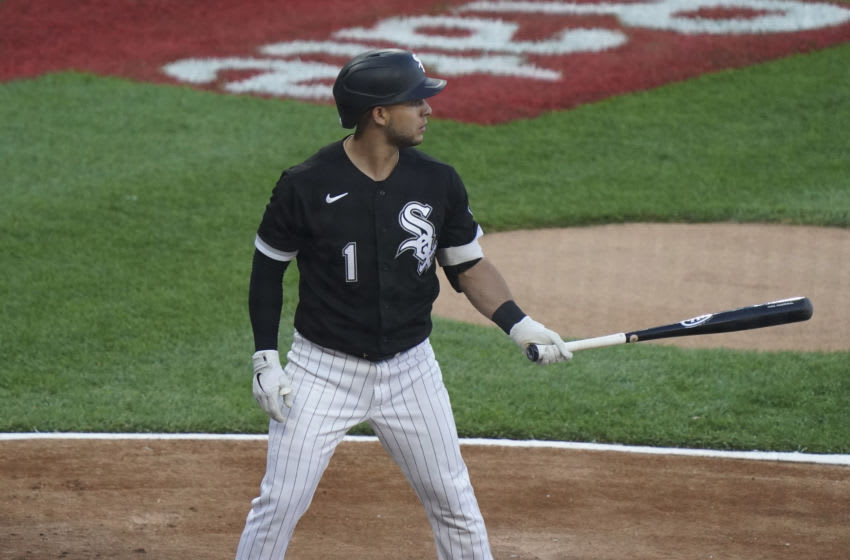 CHICAGO, ILLINOIS - JUNE 08: Nick Madrigal #1 of the Chicago White Sox bats against the Toronto Blue Jays during the first inning of a game at Guaranteed Rate Field on June 08, 2021 in Chicago, Illinois. (Photo by Nuccio DiNuzzo/Getty Images)